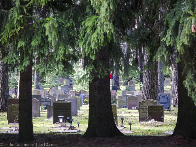 Abrazado a la tristeza. foto cementerio de Estocolmo